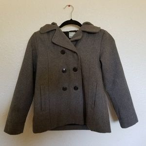 Old Navy Girls Gray Wool Pea coat with Hood